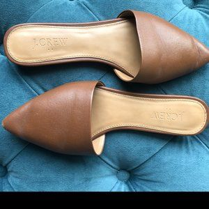 J Crew Brown Leather Pointed Toe Mules Size 6